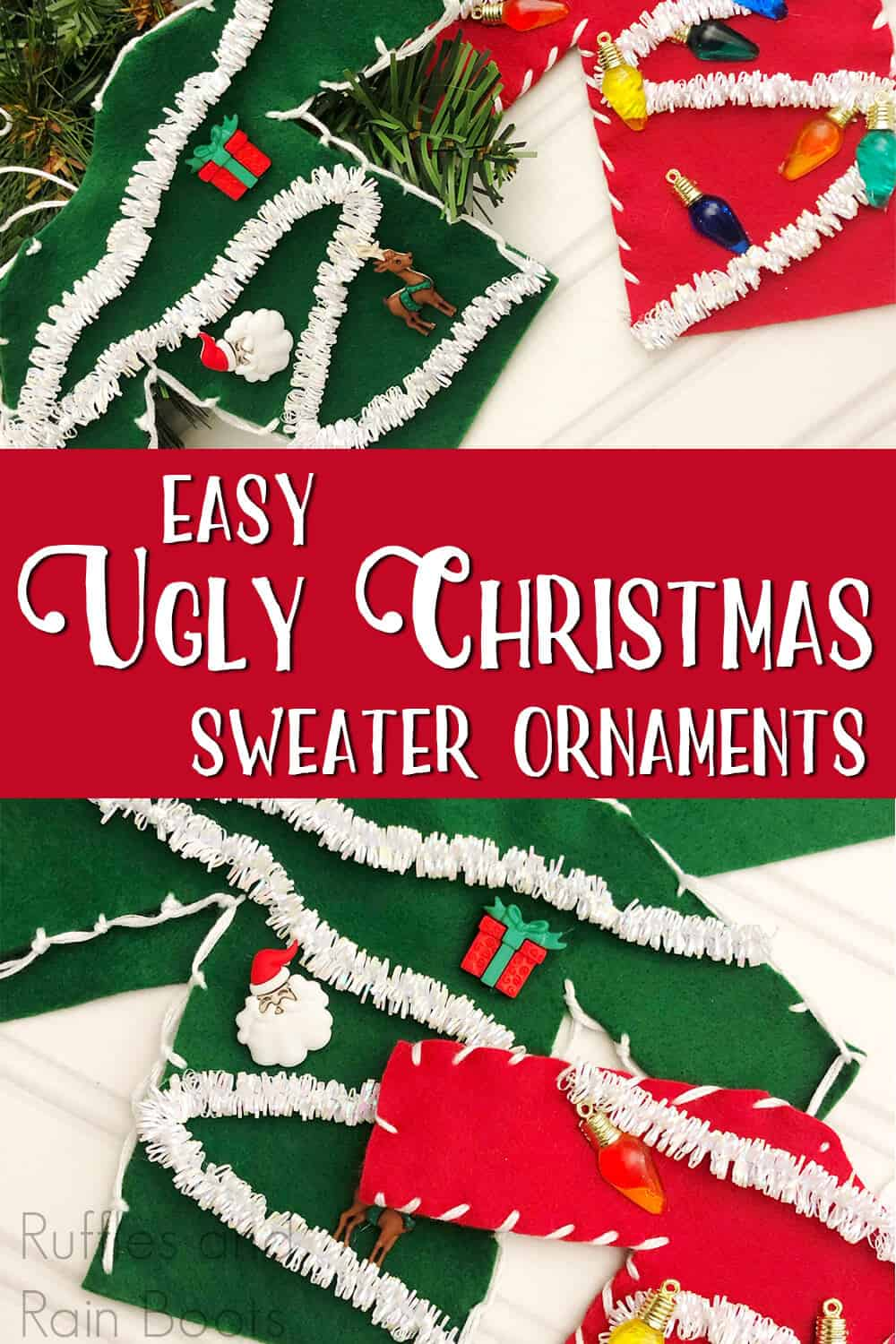 photo collage of easy christmas craft for kids with text which reads easy ugly christmas sweater ornament tutorial
