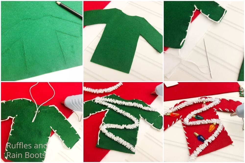 photo collage tutorial of how to make an ugly christmas sweater kid craft
