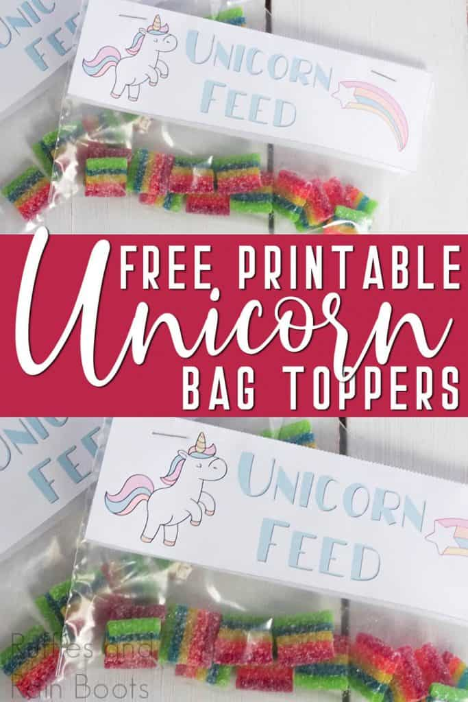 photo collage of rainbow candy in a zipper bag with a unicorn food bag top with text which reads free printable unicorn bag toppers for kids lunches