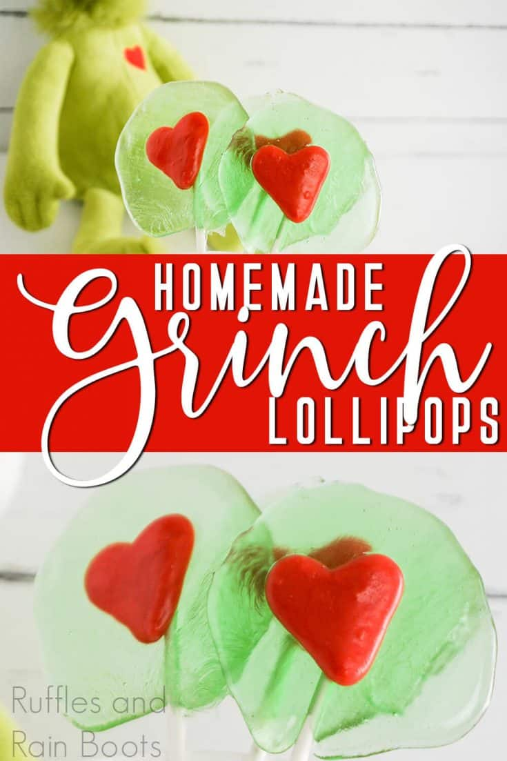 How fun are these easy Grinch suckers?! I can't wait to make them for our Grinch party! Click here to get this fun Grinch lollipop recipe! #grinchlollipop #grinchsucker #grinchparty #rufflesandrainboots
