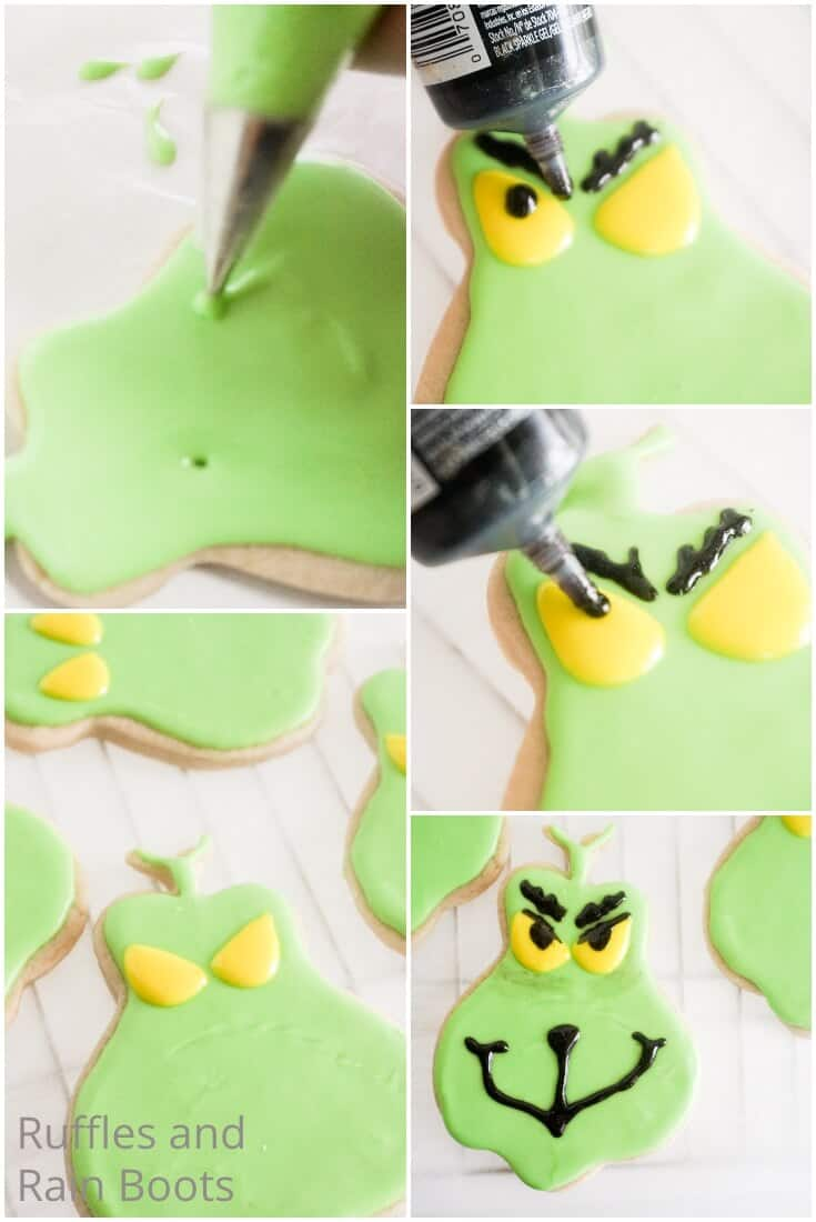photo collage tutorial of how to make grinch iced sugar cookies