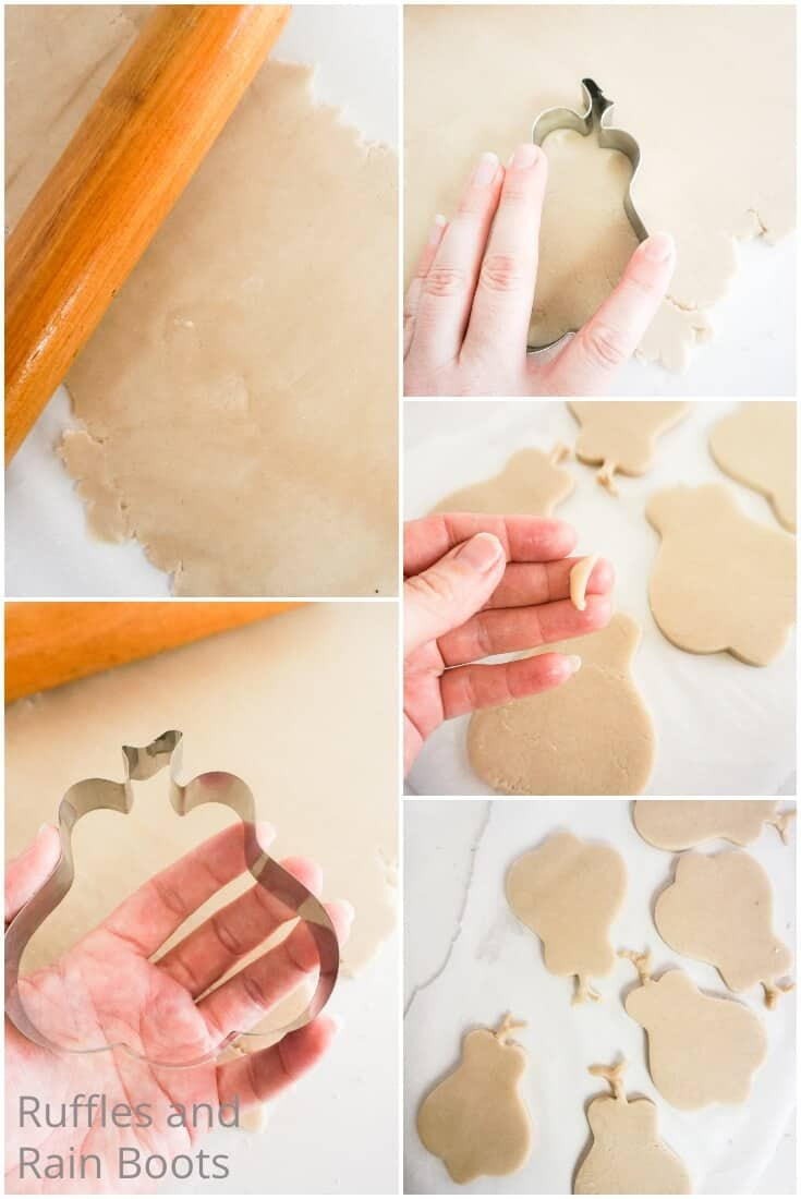 photo collage tutorial of how to make grinch sugar cookies with a pumpkin cookie cutter