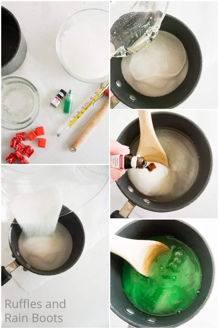 photo collage tutorial of how to make grinch lollipops at home