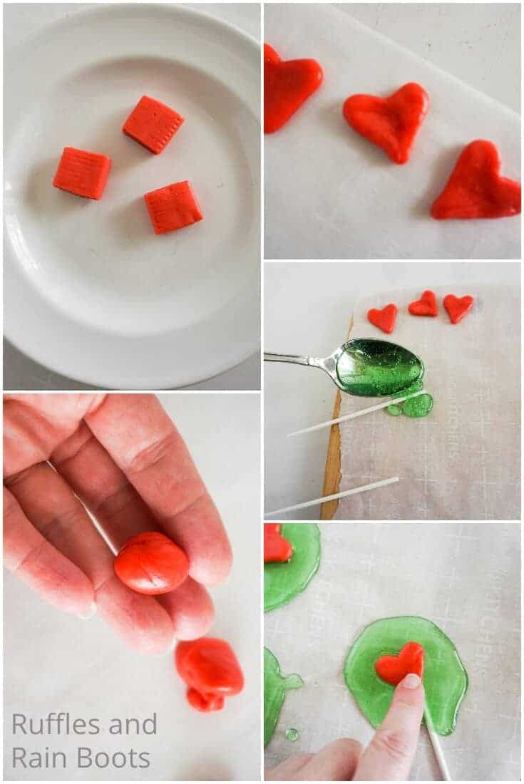 photo collage tutorial of how to make homemade grinch lollipops