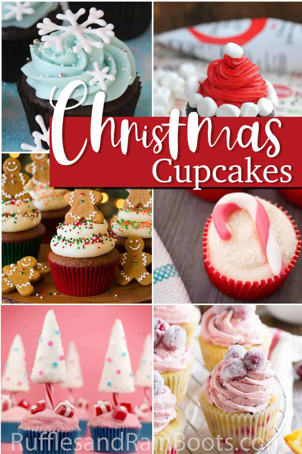 photo collage of christmas cupcake decorating ideas with text which reads christmas cupcakes