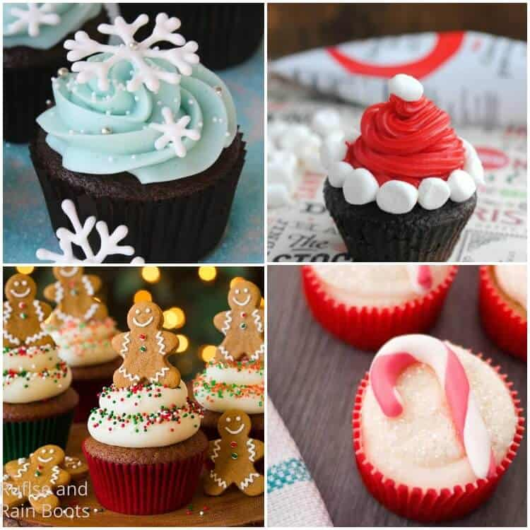 photo collage of how to make christmas cupcakes for the holidays S