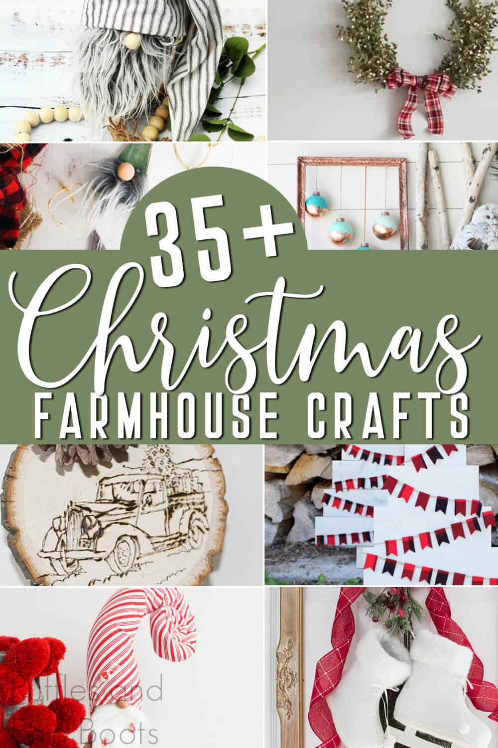 photo collage of DIY farmhouse christmas decor with text which reads 35+ christmas farmhouse crafts