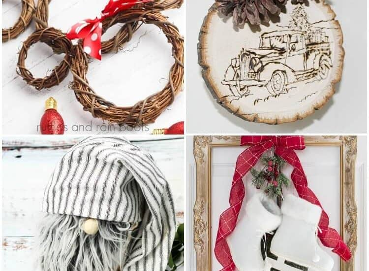 photo collage of diy farmhouse crafts you can make