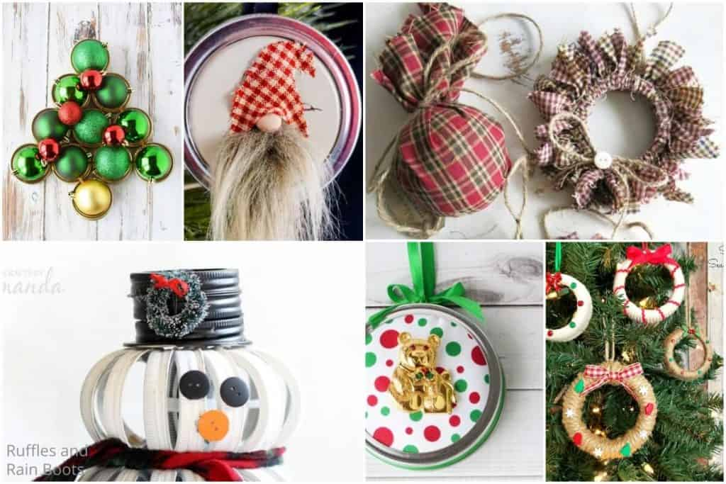 photo collage of how to make holiday wreaths with mason jar lids S