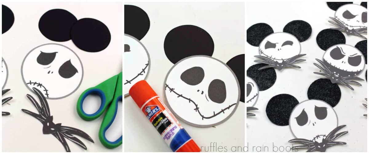photo collage tutorial of how to make jack skellington ornaments