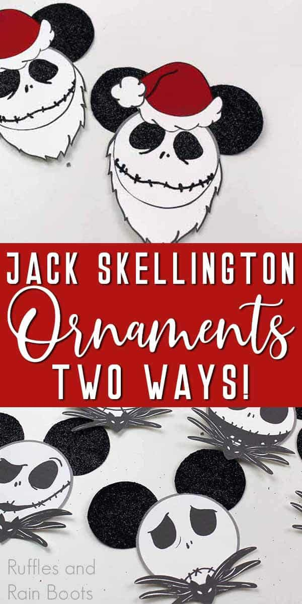 photo collage of nightmare before christmas ornaments with text which reads jack skellington ornaments two ways