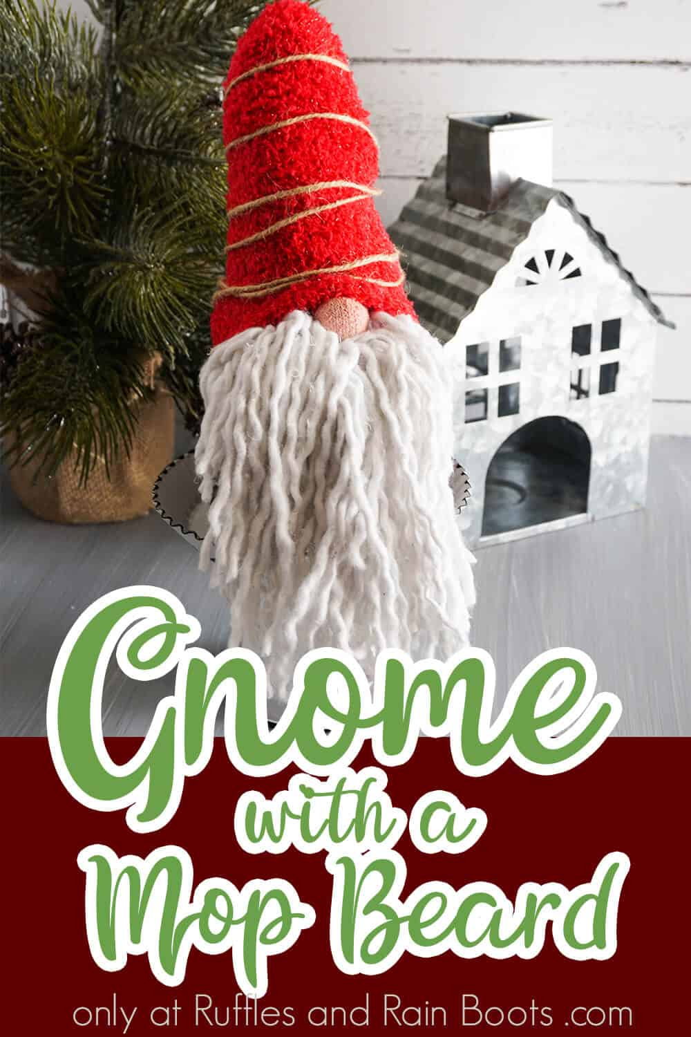 easy gnome tutorial with text which reads gnome with a mop beard