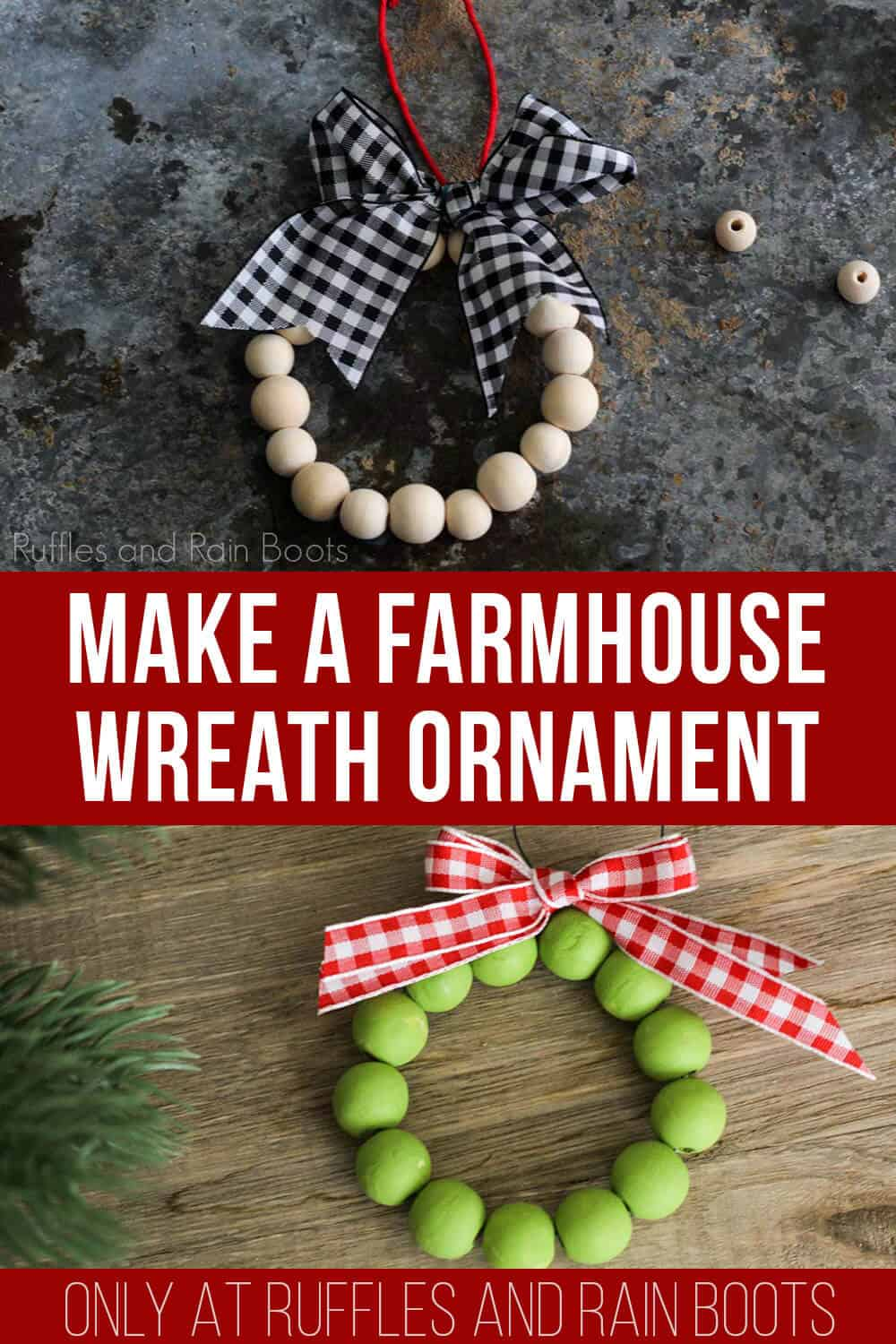 photo collage of DIY wood bead wreath ornament with text which reads make a farmhouse wreath ornament