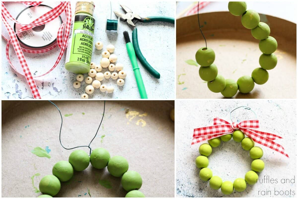 photo collage tutorial of How to make a farmhouse Christmas ornament from wood beads