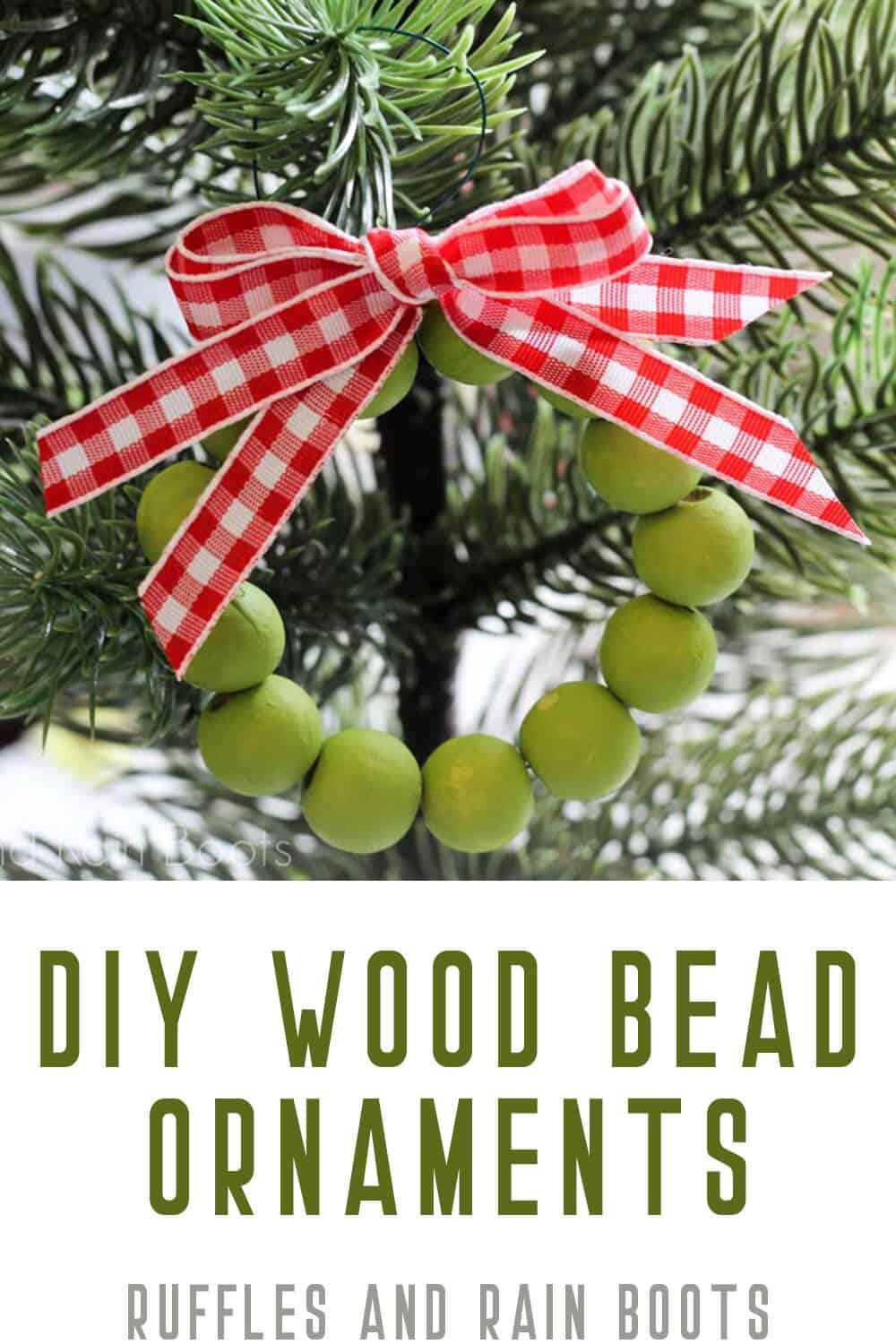 rustic wood bead ornament idea Christmas wreath with text which reads diy wood bead ornaments