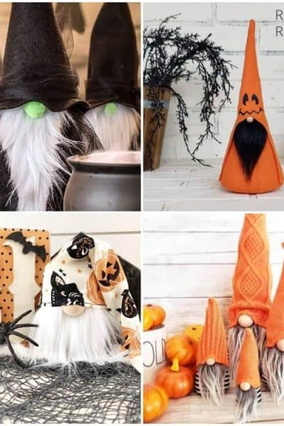 photo collage of easy halloween gnome pattern