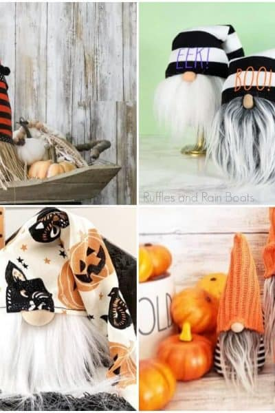 photo collage of easy halloween tomte pattern