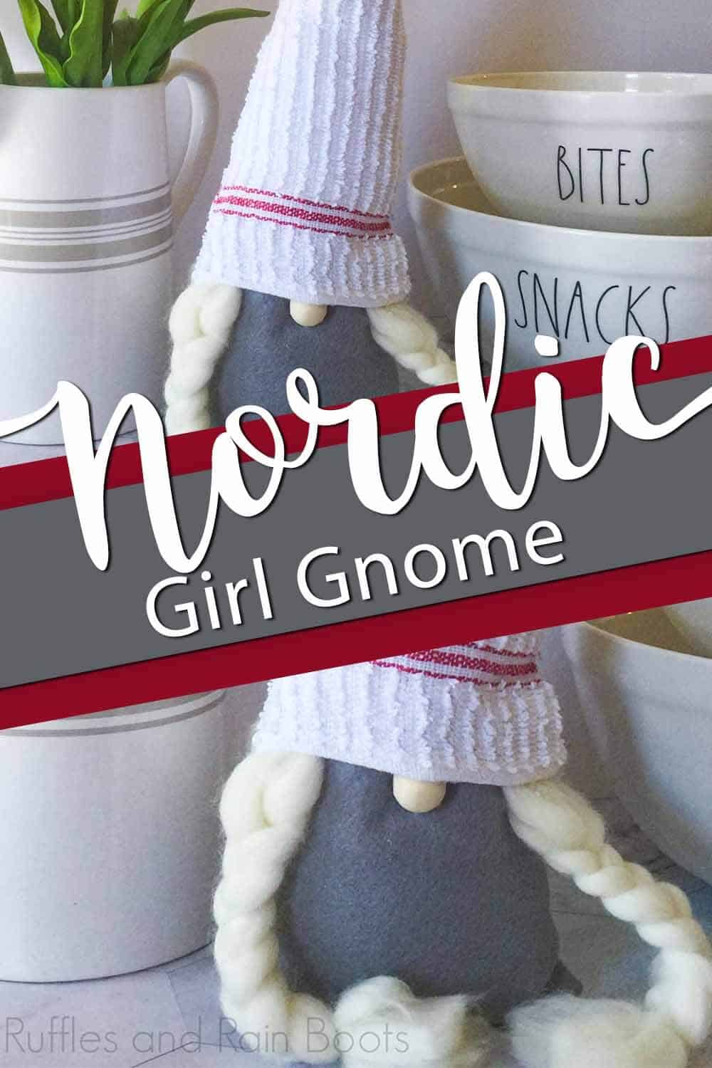 photo collage of gnome with braids with text which reads nordic girl gnome