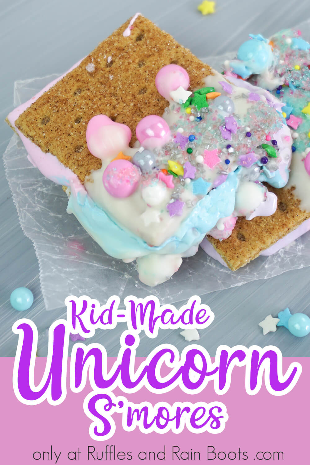 fairy bread alternative unicorn party food with text which reads kid-made unicorn smores for a unicorn party