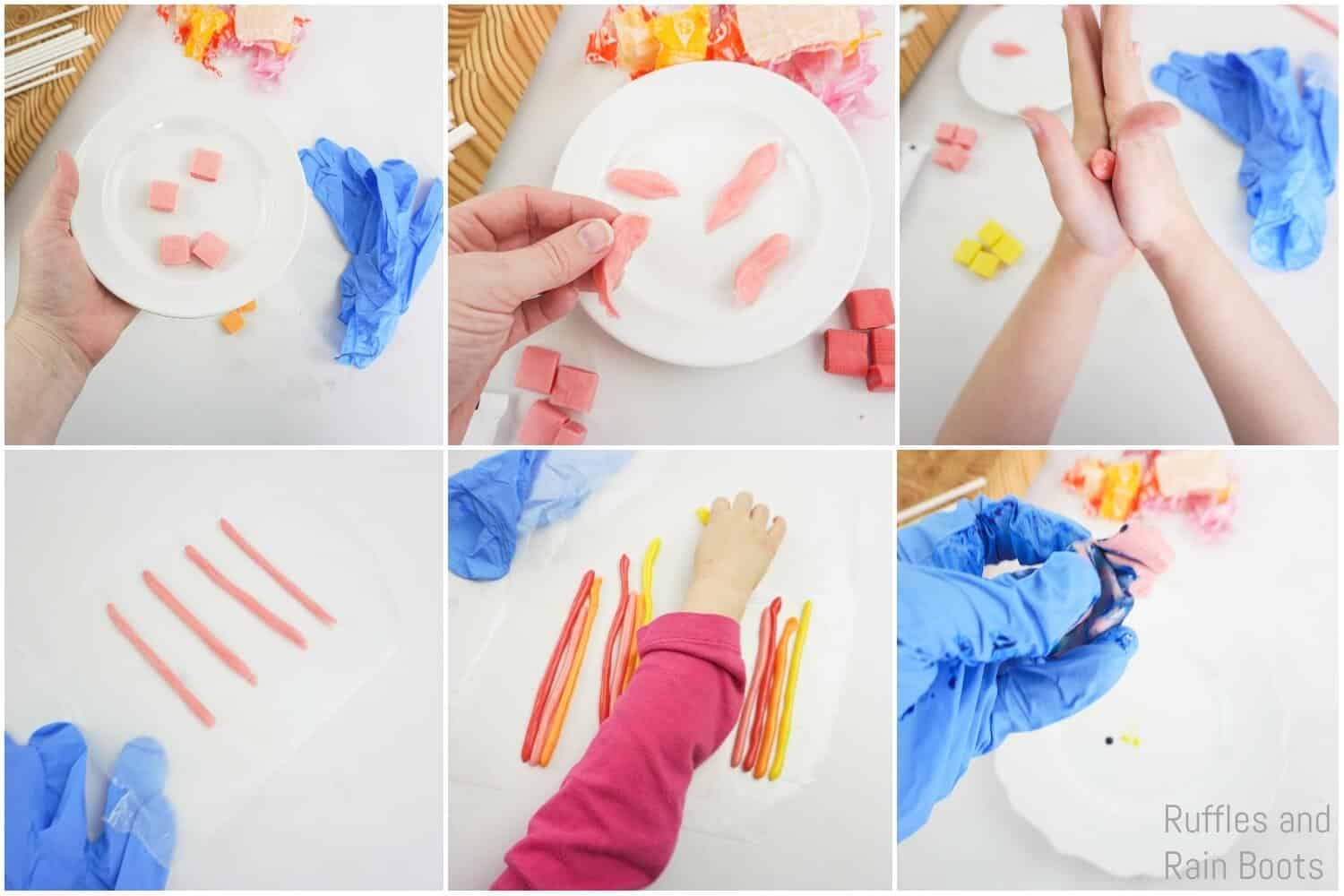 photo collage of how to make a unicorn horn from candy