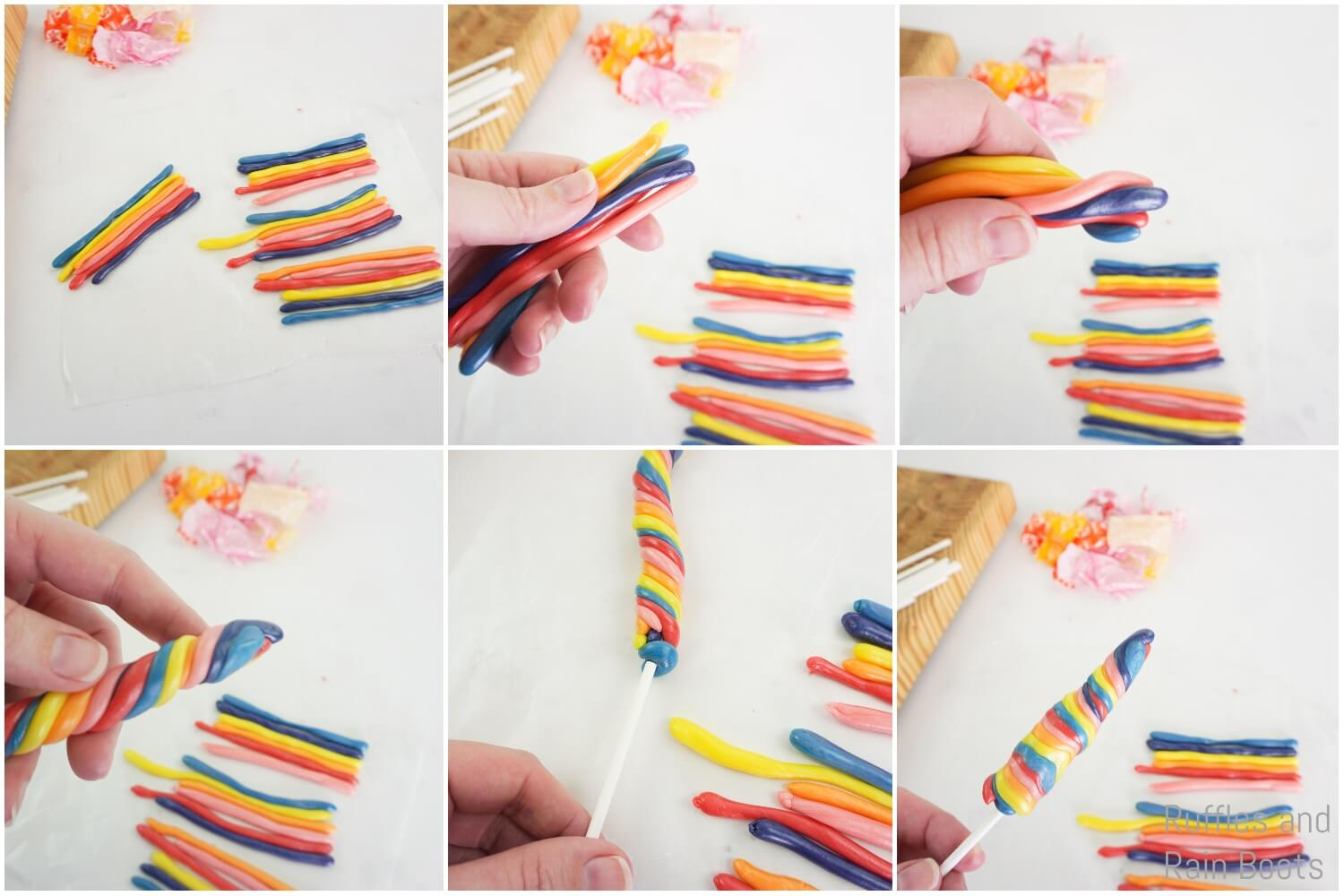 photo collage of how to make an edible unicorn horn from candy