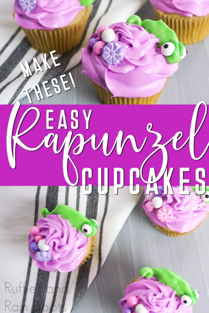 photo collage of purple cupcakes for a rapunzel and flynn rider party with text which reads make these easy rapunzel cupcakes