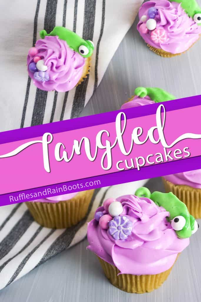 photo collage of cupcakes for a rapunzel party with text which reads Tangled Cupcakes