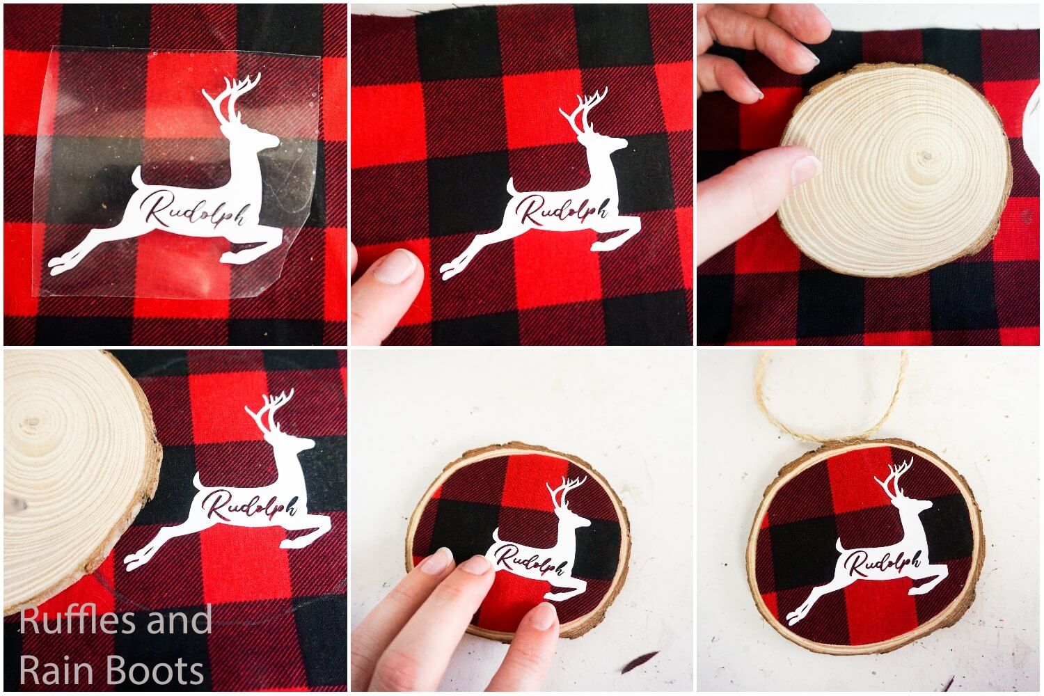 photo collage tutorial of how to make a wood round ornament with buffalo check with free cut files for silhouette