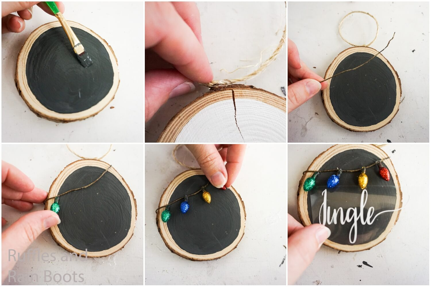 how to make a wood round ornament with tiny christmas lights with free cut file for cricut