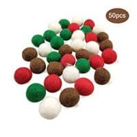 Red, White and Green Wool Balls