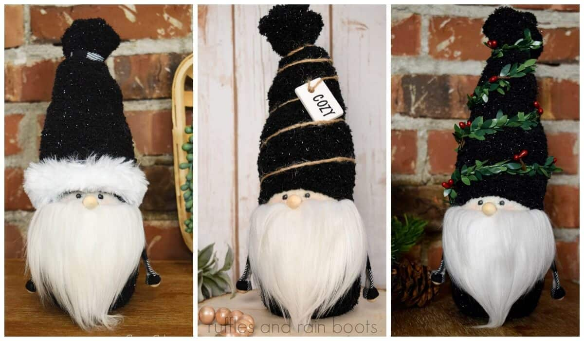 photo collage of Adorable Christmas Gnome 3 ways
