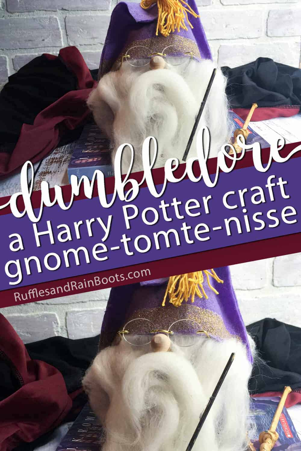 photo collage of harry potter movie inspired dumbledore gnome with text which reads dumbledore a harry potter craft gnome tomte nisse