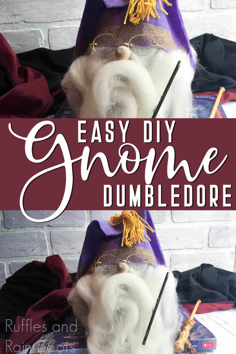 photo collage of wizard gnome with text which reads easy diy gnome dumbledore