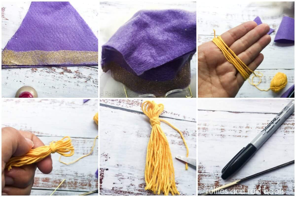 photo collage of how to make a harry potter Dumbledore gnome hat