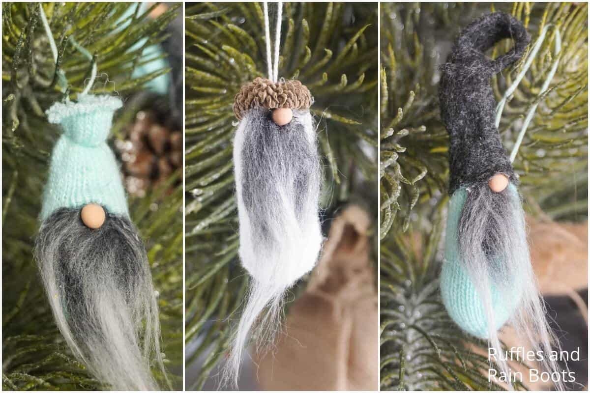 photo collage of how to make a gnome ornament three ways