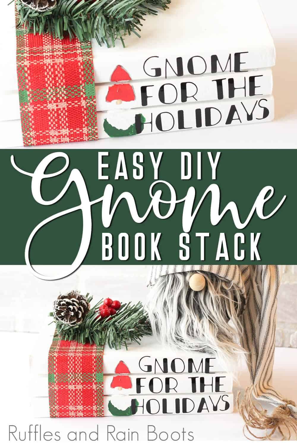 photo collage of farmhouse christmas gnome books stack with text which reads easy diy gnome bookstack