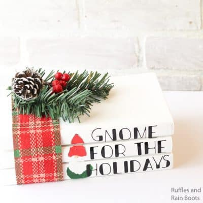 Make This Christmas Farmhouse Gnome Book Stack in Minutes!