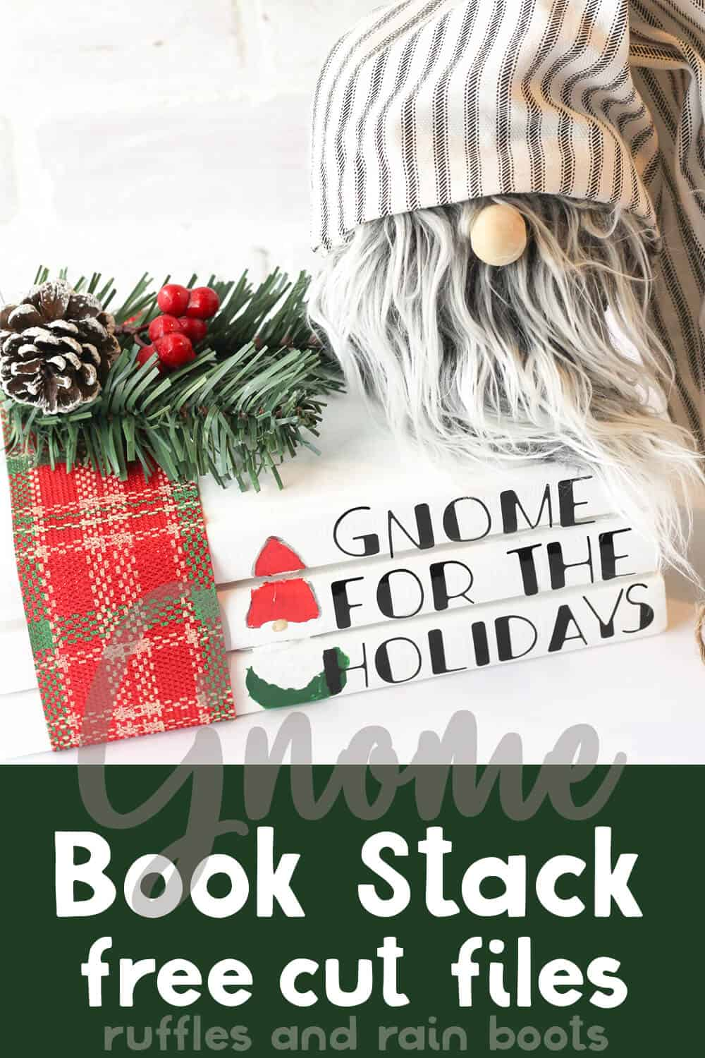 closeup of farmhouse gnome and stack of books on a white table with text which reads gnome book stack free cut file