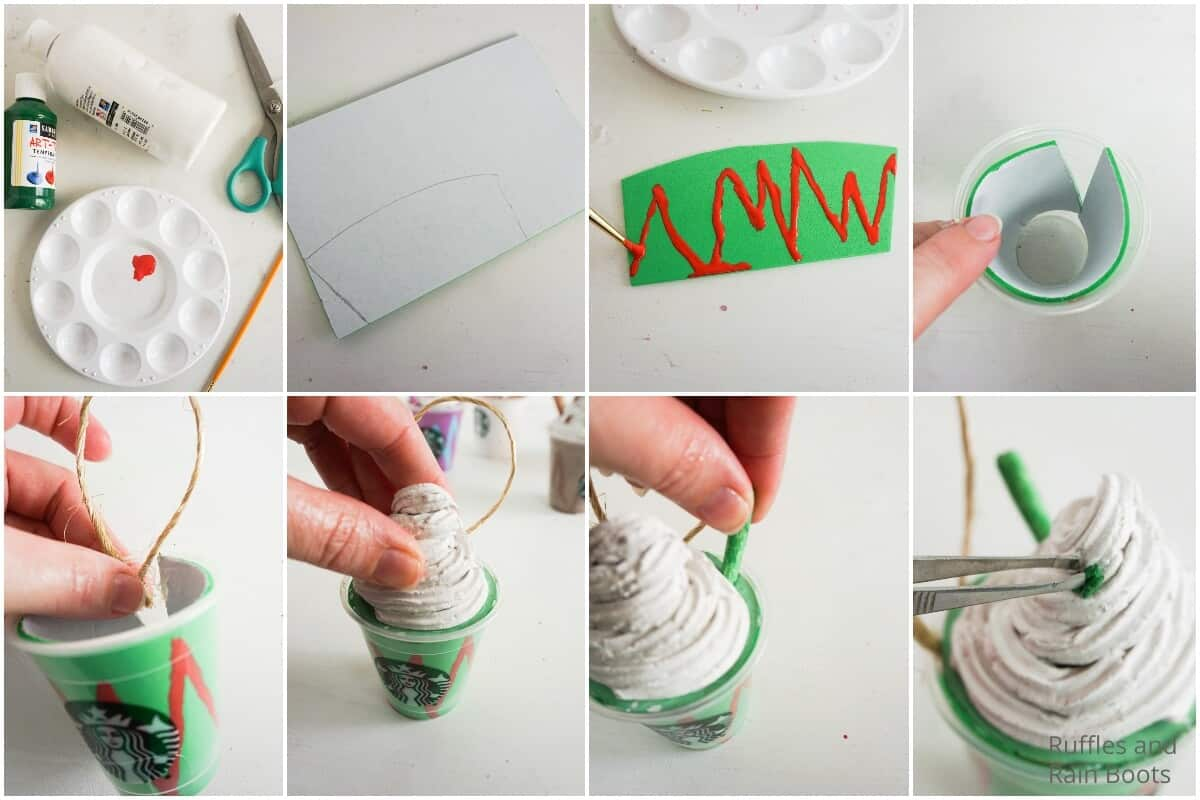 photo collage tutorial of how to make a starbucks frappuccino ornament