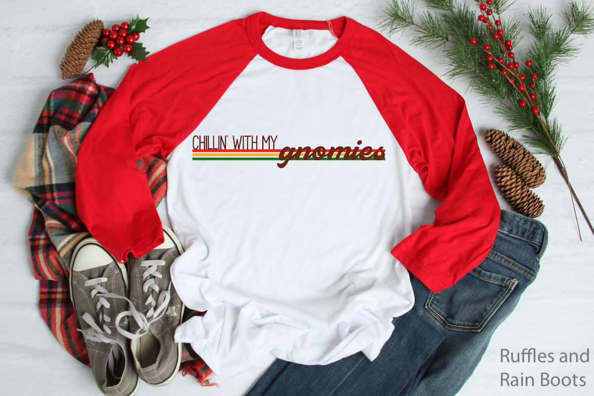 chillin' with my gnomies free Christmas cut file for cricut or silhouette on raglan tshirt