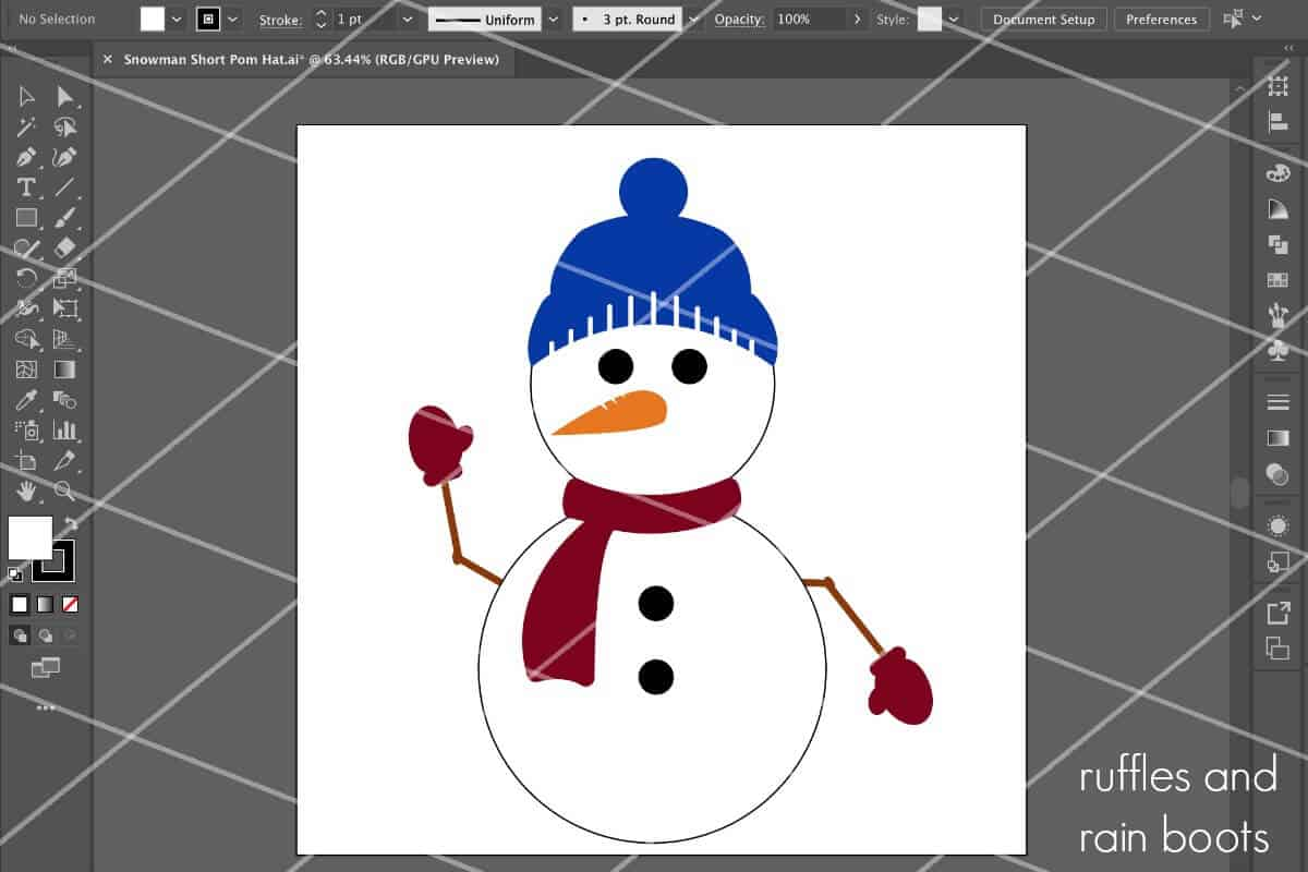 free snowman svg from ruffles and rain boots shown in Adobe Illustrator