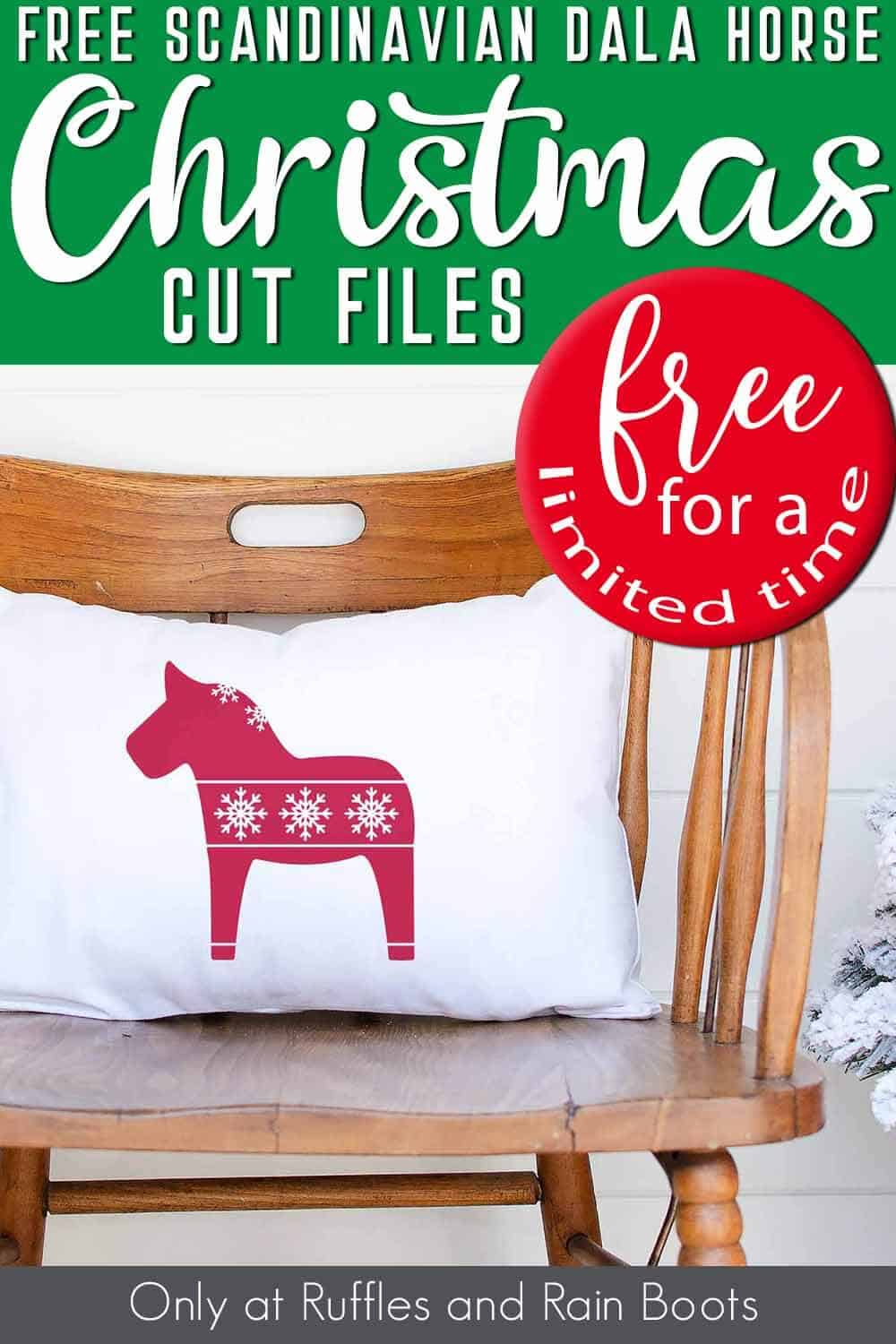 pillow on a chair with the scandinavian dala horse free holiday cut file on it with text which reads free scandinavian dala horse christmas cut files free for a limited time