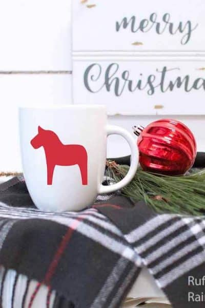 dala horse free christmas SVG solid on coffee cup