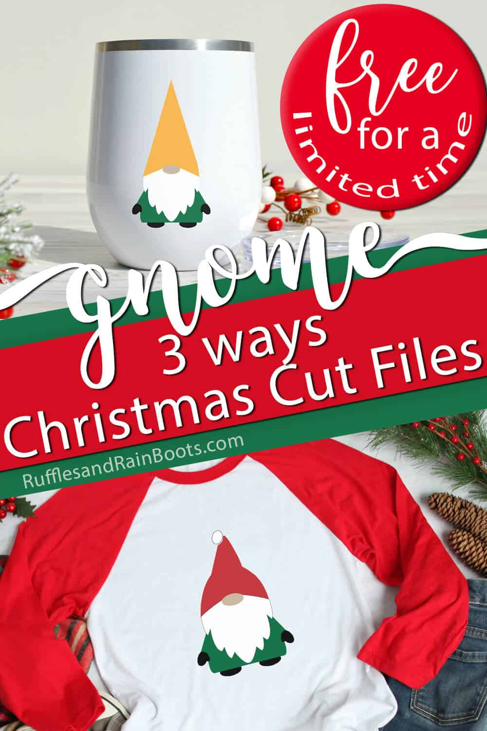 photo collage of ways to use a free Christmas elf cut file with text which reads gnome 3 ways christmas cut files free for a limited time