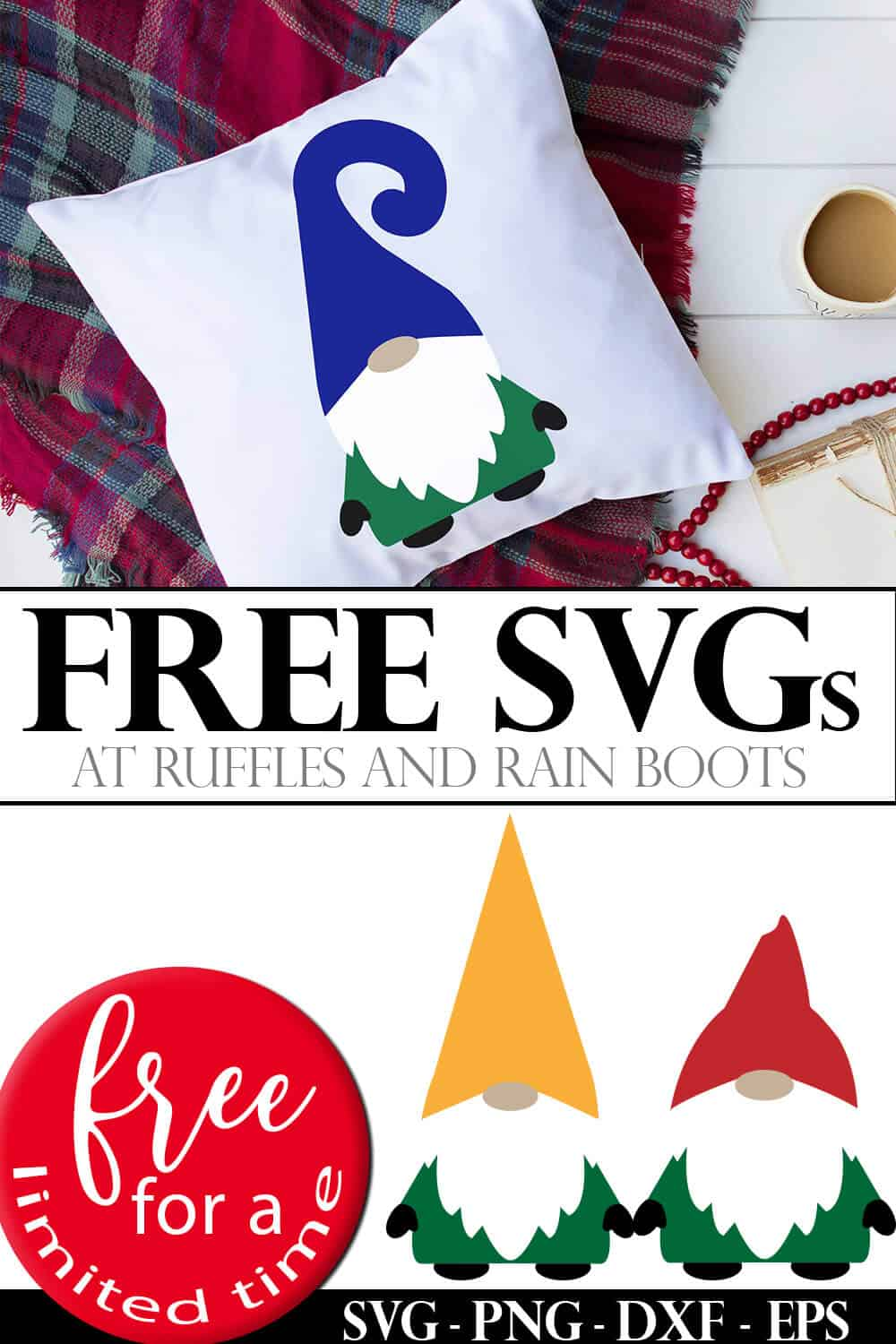 photo collage of three gnome Christmas cut files with text which reads free svgs free for a limited time