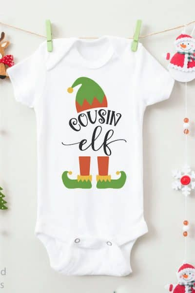 cousin elf cut file for Christmas on a onesie