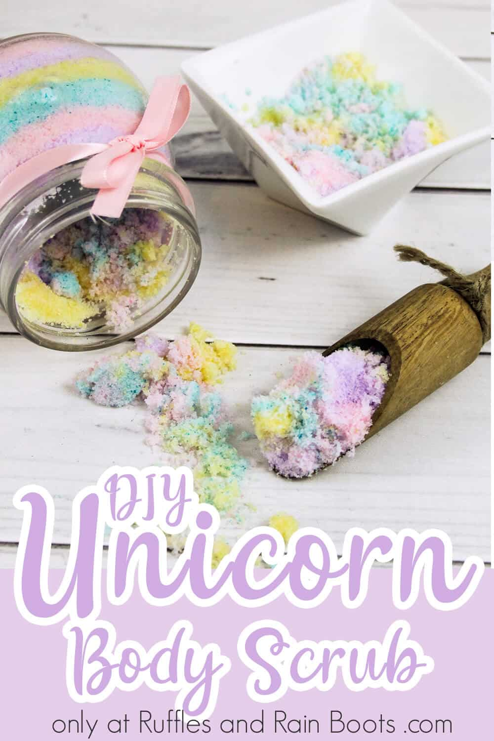 close-up of spilled jar and scoop of diy sugar scrub with text which reads diy unicorn body scrub