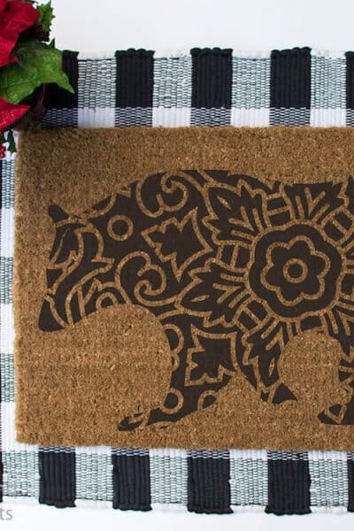 mandala bear Christmas cut file on a doormat