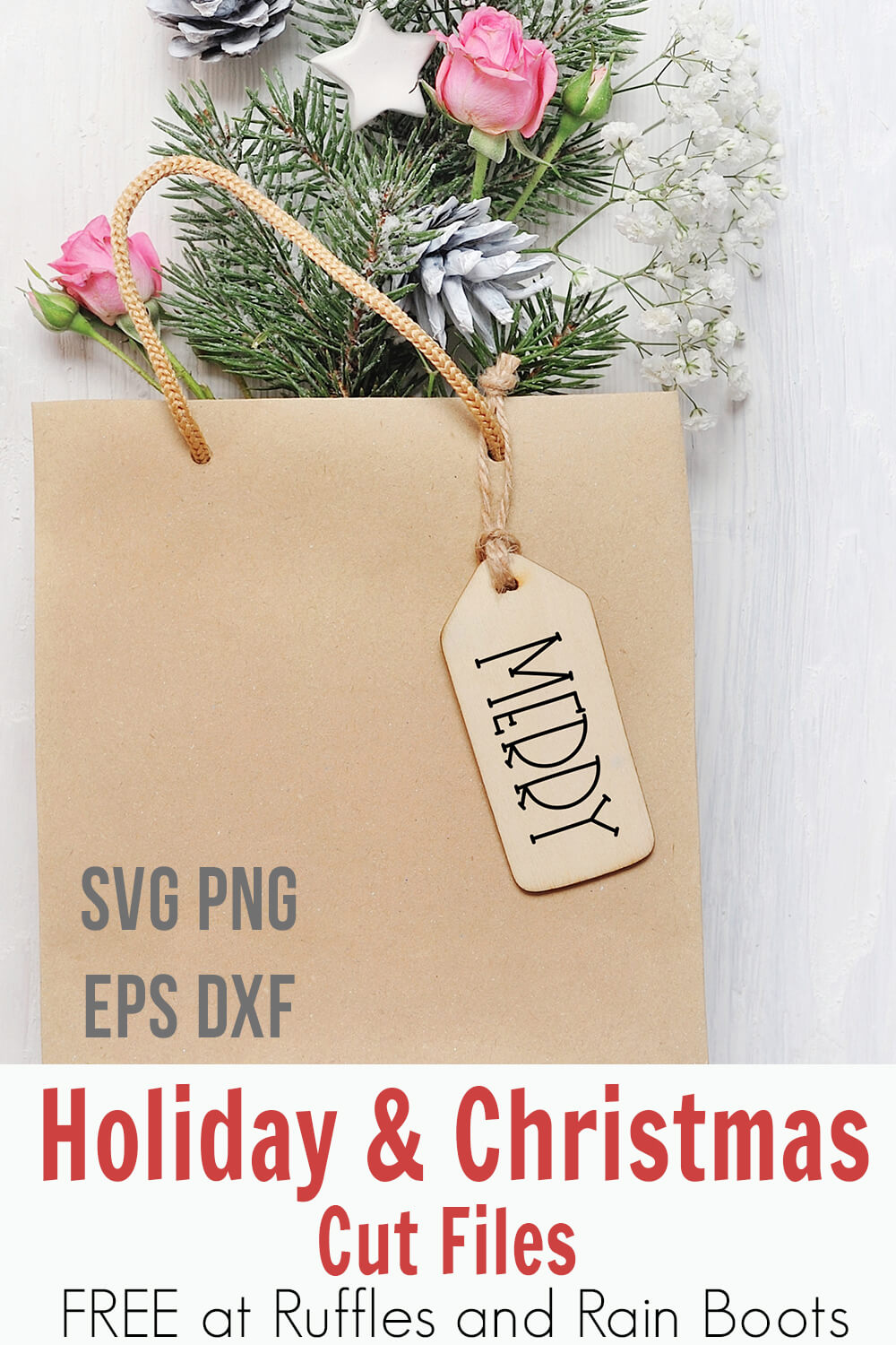 playful merry christmas free svg on a gift tag with text which reads svg png eps dxf holiday & christmas cut files