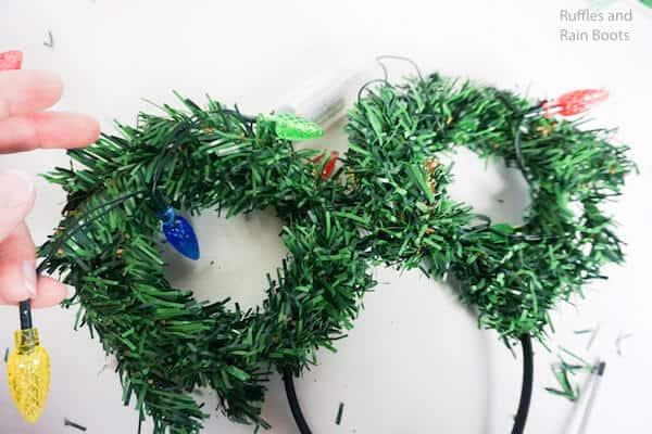 how to make mickey ears for christmas by wrapping christmas lights around the wreaths